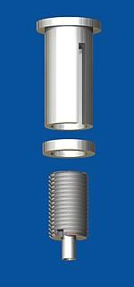 Kombination aus Deckenbefestiger M10x1, M6i, mit Schlitz und Drahtseilhalter Typ 15 M10x16 mit Gewindering