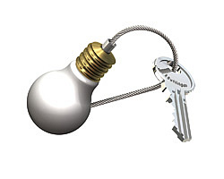Key ring type 12 Bulb, brass, tricolor