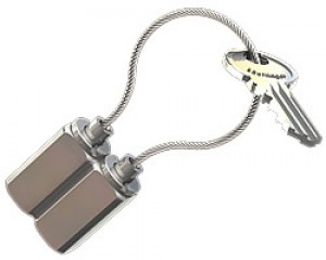Key ring type 18 Twin, brass, nickel plated