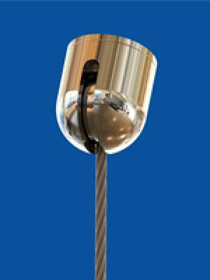 Schrägdeckenbefestigung Ø 24 mm, mit Deckenplatte M6i, Kugelkappe mit Schlitz 4,5 mm und Kugelpfanne Ø 18 mm mit Bohrung 10 mm, für Seile Ø 1,0-3,0 mm mit Nippel 10