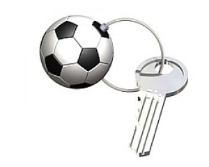 Key ring  type 12 Football, brass, nickel plated