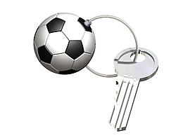 Key ring  type 12 Football, brass, nickel plated
