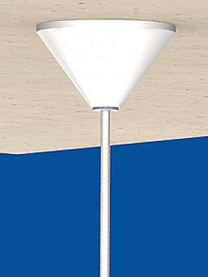 Canopy Cone with small cylindic cap, for 1 till 2 cables ø 1,5 mm and power-feed cable ø 6 till 6,6 mm; white RAL 9010