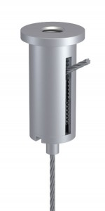 Combination of Ceiling Attachment M10x1 M6i with Slit and Holder Type 15 M10x6A, Aluminium nature anodised