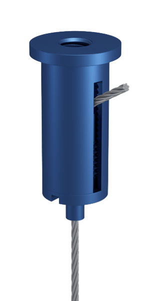 Combination of Ceiling Attachment M10x1 M6i with Slit and Holder Type 15 M10x6A, Aluminium blue anodised