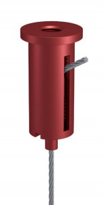 Combination of Ceiling Attachment M10x1 M6i with Slit and Holder Type 15 M10x6A, Aluminium red anodised