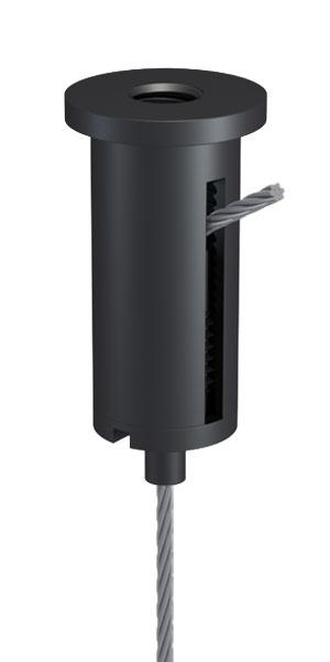 Kombination aus Deckenbefestiger M10x1, M6i, mit Schlitz und Drahtseilhalter Typ 15 M10x6A, Alu schwarz eloxiert