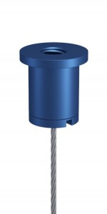 Combination of Ceiling Attachment M10x1 M6i short and Screw Cap M10x1 with Slit and Bore, Aluminium blue anodised