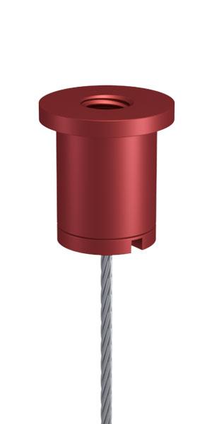 Kombination aus Deckenbefestiger M10x1, M6i, kurz und Schraubkappe M10x1, mit Schlitz, Bohrung 2,2mm, Alu rot eloxiert