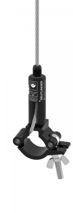 Holder type 66 SV III ZW black zinced, with safety nut, with Doughty half coupler slim line for pipe-diameters 48mm-51mm